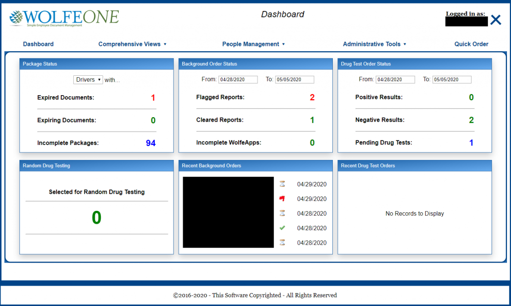 WolfeOne Dashboard